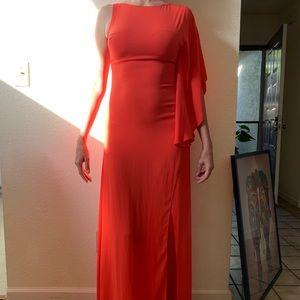 BCBG size 2 fire orange asymmetrical dress